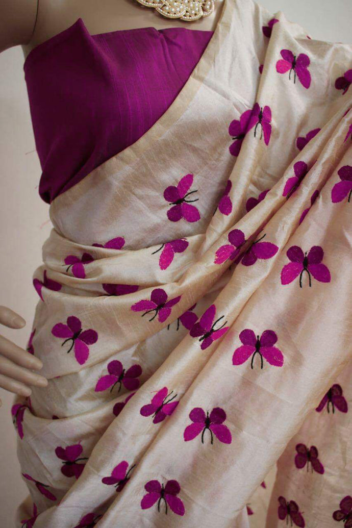 Purple Colour Titli Figure Embroidary Work Cream Color South Silk Designer Saree