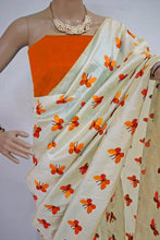 Orange Colour Titli Figure Embroidary Work Cream Color South Silk Designer Saree
