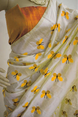Yellow Colour Titli Figure Embroidary Work Cream Color South Silk Designer Saree
