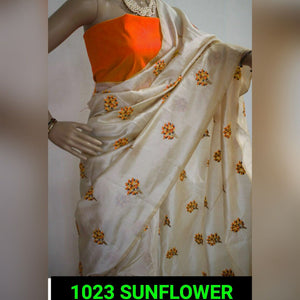 Most Selling South Silk Material Sunflower Figure Embroidary Work Saree