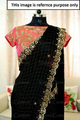 Black Color Full Stone Work Cotton Silk Cheqeks Saree+embroidary Blouse