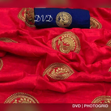 Red Colour Sana Silk Designer Dancing Peacock Figure Embroidry Work Saree