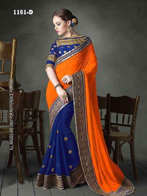 Orange Colour Festival Special Heavy Georgette Saree With Embroidary Blouse