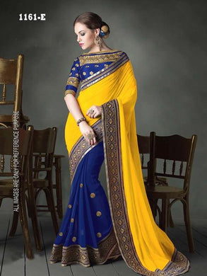 Yellow Colour Festival Special Heavy Georgette Saree With Embroidary Blouse