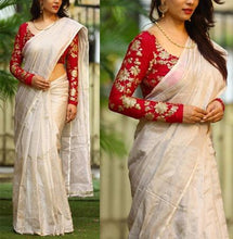 Red Colour Chiku Cream Color South Silk Saree With Sequence Work Blouse