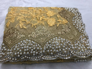 Chiku Gold Color Original Moti Work+stone Work Embroidary Saree