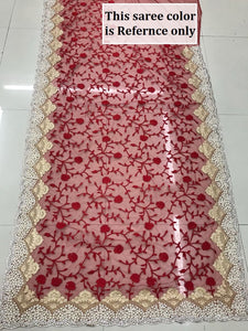 Pink Color Original Moti Work+stone Work Embroidary Saree