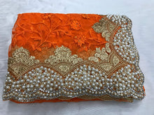 Orange Color Original Moti Work+stone Work Embroidary Saree