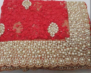Red Colour Original Pearl Work+stone Work Bridal Embroidary Thread Work Saree