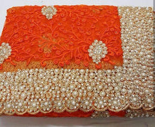 Orange Colour Original Pearl Work+stone Work Bridal Embroidary Thread Work Saree