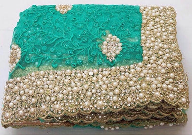 Firogi Colour Original Pearl Work+stone Work Bridal Embroidary Thread Work Saree
