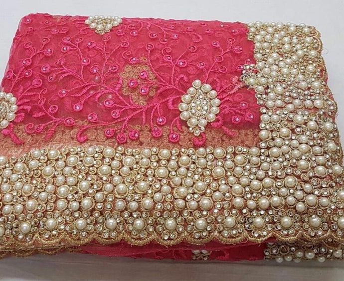 Pink Colour Original Pearl Work+stone Work Bridal Embroidary Thread Work Saree