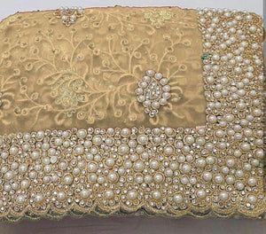 Cream Colour Original Pearl Work+stone Work Bridal Embroidary Thread Work Saree