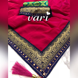 2 Blouse+pink Color Marble Silk Jequard Lace Saree With Latkan
