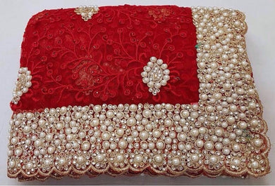 Red Colour Original Pearl Work +stone Work+ Embroidary Work Net Saree