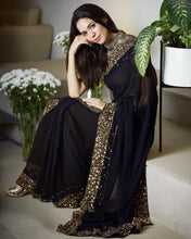 Full Sequence Work Blouse Black Color Georgette Saree
