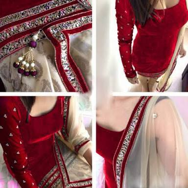 Maroon Color Velvet Patiyala With Sequience Work+latkan In Duppata