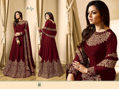 Awesome Look Maroon Full Length Designer Look Faux Long Suit