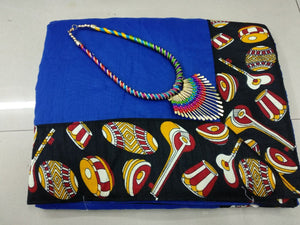 Blue Colour Free Necklace Kajal Agrawal Bollywood Dholak Print Designer Saree