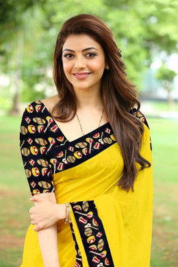 Yellow Colour Free Necklace Kajal Agrawal Bollywood Dholak Print Designer Saree