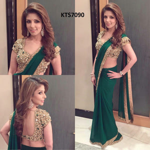 Original Stone Work + Sequence Work Green Color Geogette Saree