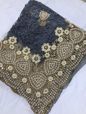 Grey Colour Bridal Pearl Work+stone Work Embroidary Naylon Net Saree