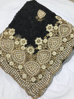 Black Colour Bridal Pearl Work+stone Work Embroidary Naylon Net Saree