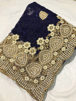 Navyblue Colour Bridal Navy Blue Pearl Work+stone Work Embroidary Naylon Net Saree