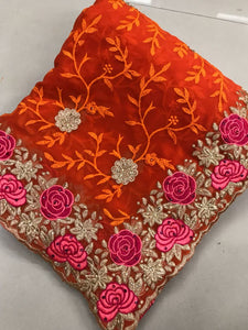 Orange Colour Original Stone Work +full Embroidary Work Georgette Party Wear Saree