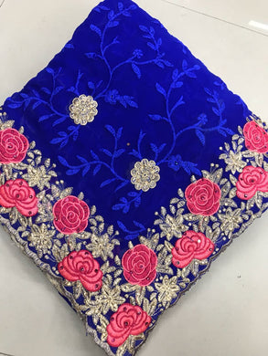 Royal Blue Colour Original Stone Work +full Embroidary Work Georgette Party Wear Saree