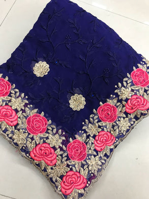 Navyblue Colour Original Stone Work +full Embroidary Work Georgette Party Wear Saree