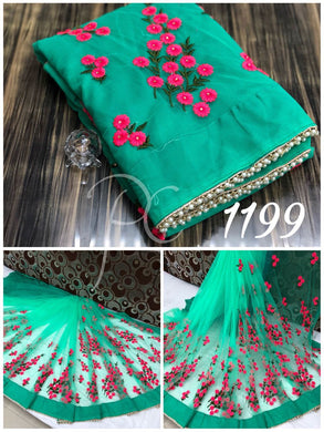 Firoji Thread Work  Mono Net Saree With Moti Lace And Stone Work