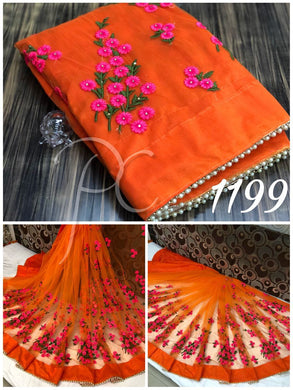 Orange Thread Work  Mono Net Saree With Moti Lace And Stone Work