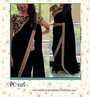 Black Colour Festival Special Heavy Geoorgette Saree With Embroidary Blouse