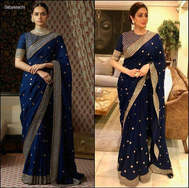 Blue Colour Bollywood Star Sri Devi Kapoor Blue Color Georgette Embroidary Saree