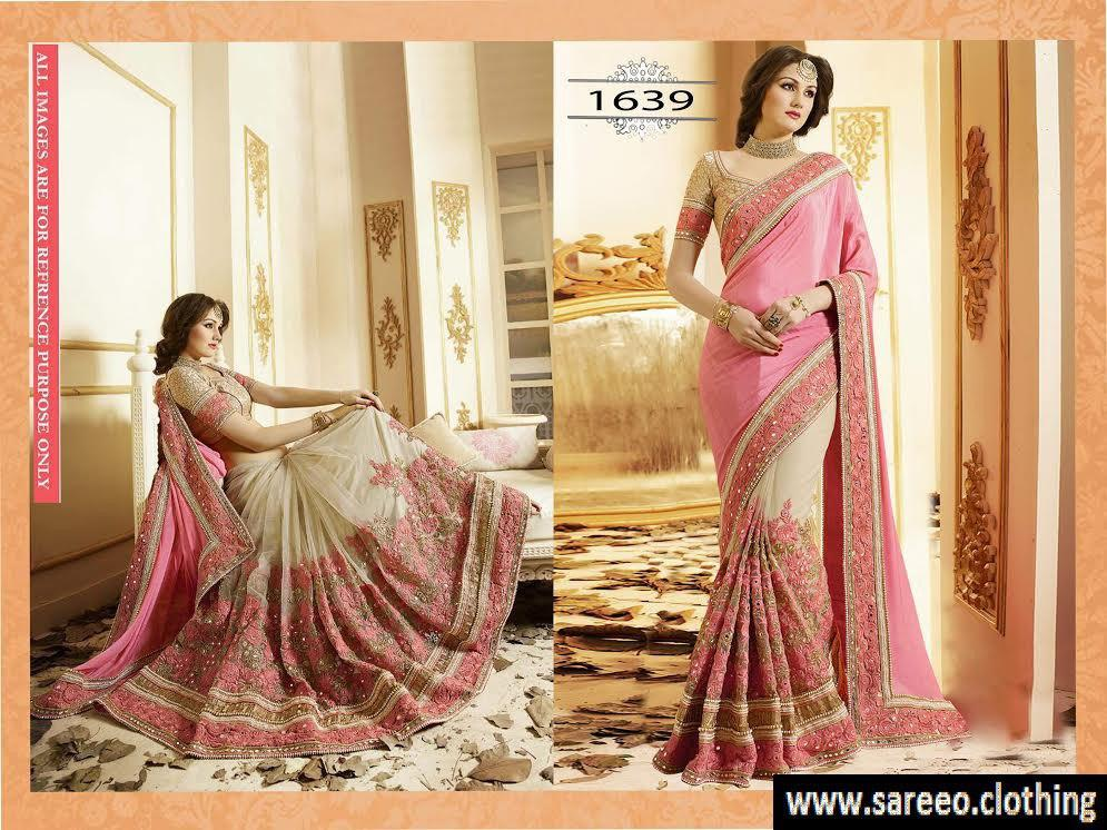 New Style Bridal Heavy Embroidary Work Pink Beige Wedding Saree