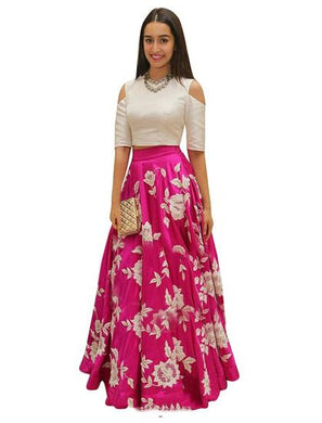 Pink Art Silk Lehenga Choli For Women