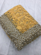 Yellow Colour Heavy Nylon Net With Thread Embroidery Work With Pearl Stone Saree