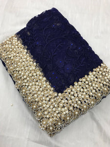 Blue Colour Heavy Nylon Net With Thread Embroidery Work With Pearl Stone Saree