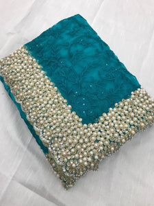 Skyblue Colour Heavy Nylon Net With Thread Embroidery Work With Pearl Stone Saree