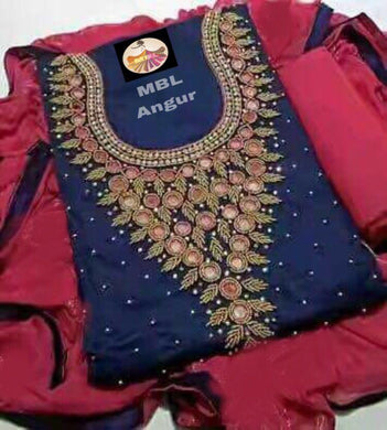 Blue Colour Modal Chanderi Cotton  With Khatali Hand Work Salwar Suit