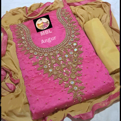 Pink Colour Modal Chanderi Cotton  With Khatali Hand Work Salwar Suit