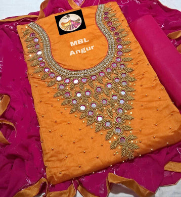 Orange Colour Modal Chanderi Cotton  With Khatali Hand Work Salwar Suit