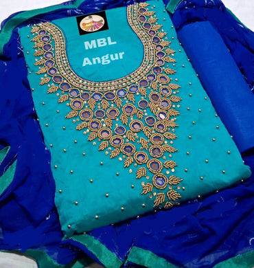Skyblue Colour Modal Chanderi Cotton  With Khatali Hand Work Salwar Suit