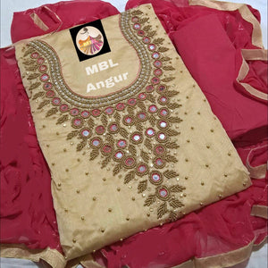 Chiku Colour Modal Chanderi Cotton  With Khatali Hand Work Salwar Suit