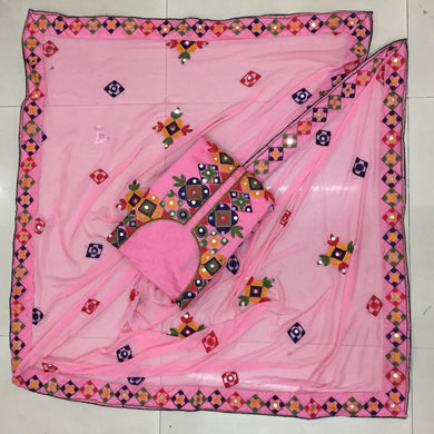 Pink Colour New Cotton Chanderi Full Emrodori Work Salwar Suit