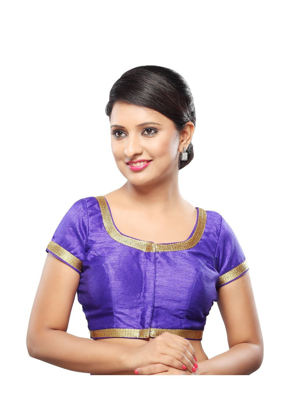Designer Royal Blue Dupion Silk Front Open Ready Made Saree Blouse Fab