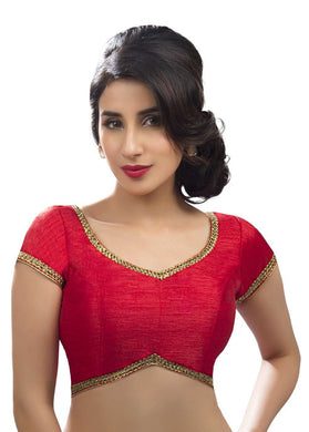 Classic Lace Border Red Sari Blouse Fabric