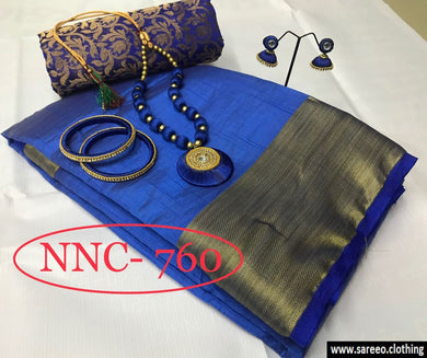 Blue Colour New Designer Pure Tusser Silk With Jewellery And Dule Blouse