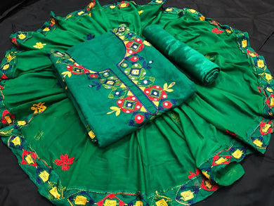 Green Color Summer Sale Heavy Discount On Chanderi Salwar Suit